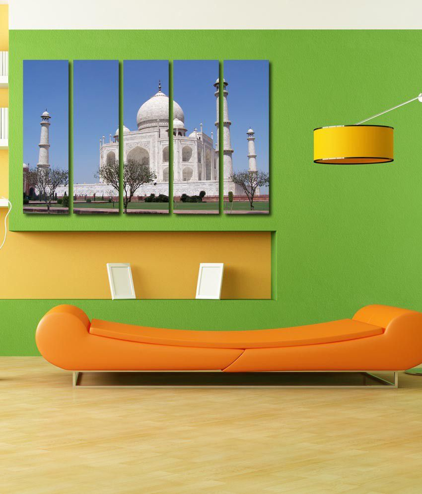 999store Glossy Printed Taj Mahal Like Modern Wall Art Painting With Frame - 5 Frames