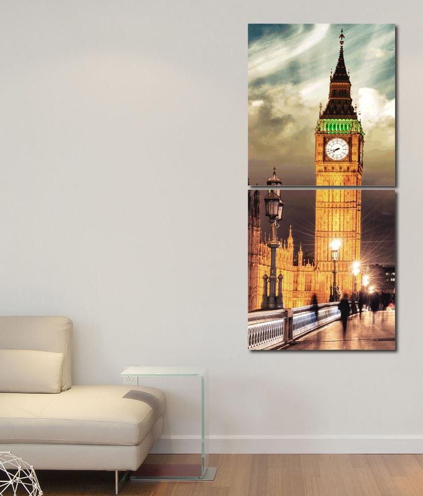 999store Glossy Printed Towers Wall Art Painting With Frame -2 Frames