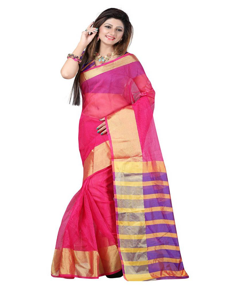 Fashion Saree House Pink Cotton Silk Printed Saree With Blouse Piece