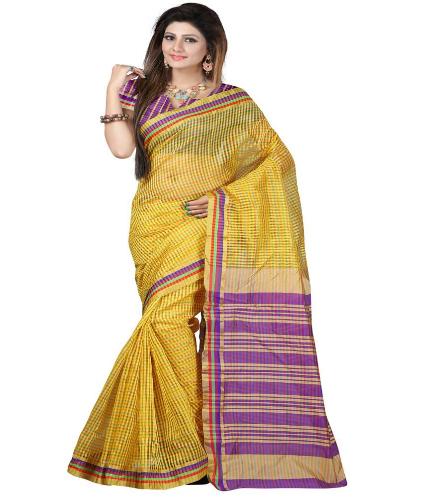 Fashion Saree House Yellow Cotton Silk Printed Saree With Blouse Piece