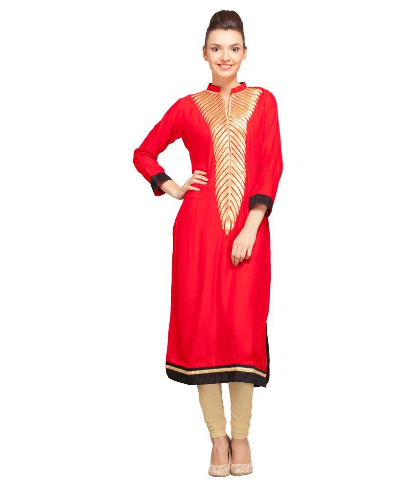 Fashion Union Red Poly Rayon Kurti
