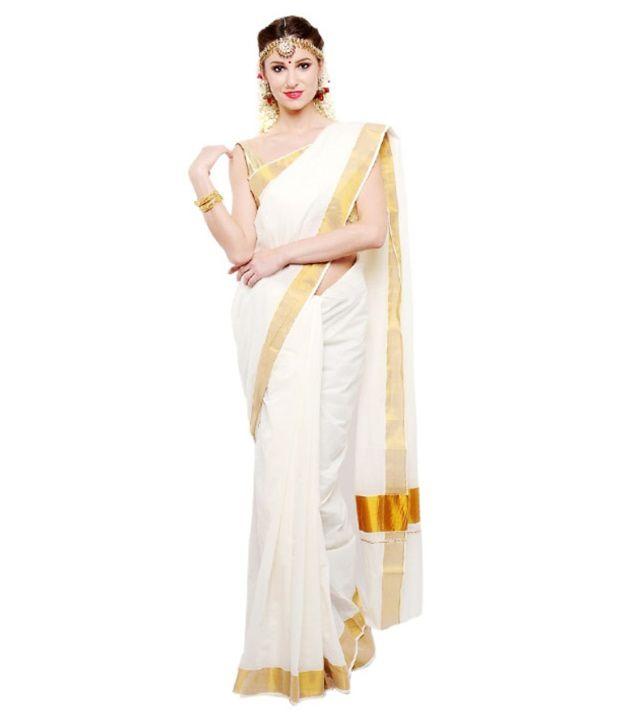 Madhav Raj Bvb White Kasavu Silk Saree - Pack of 4