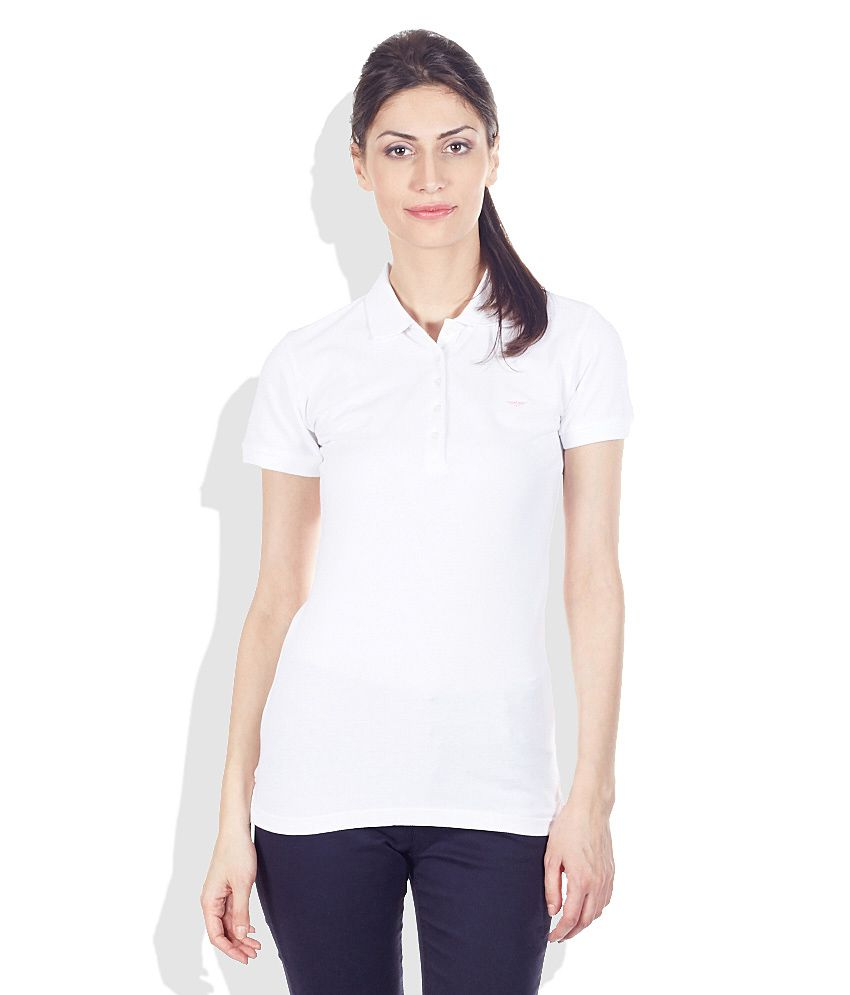 8bc29c4a Buy Park Avenue Woman White Solid Polo T-Shirt Online at Best Prices in  India - Snapdeal