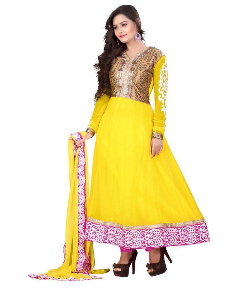 Sakariya Fashion Hub Yellow Cotton Embroidered Dress Material