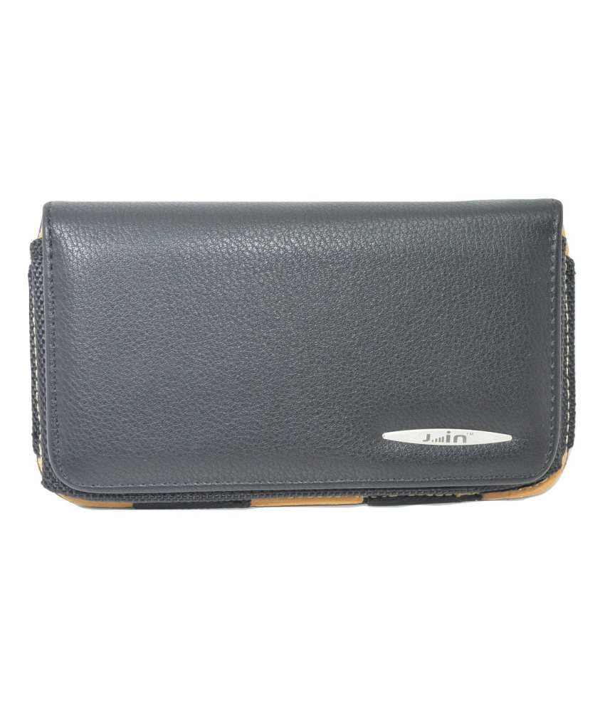 Totta Universal Leather Belt Pouch For Bsnl Penta Bharat Phone Black