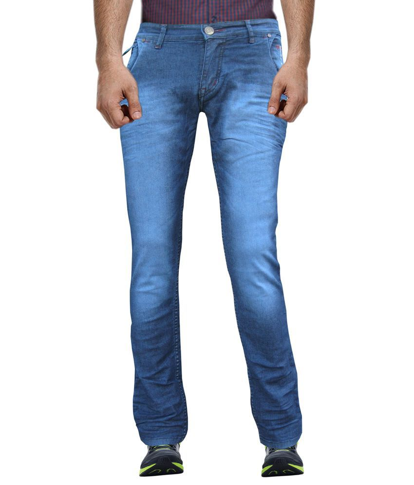 White Pelican Dark Blue Stretchable Slim Fit Jeans For Men.