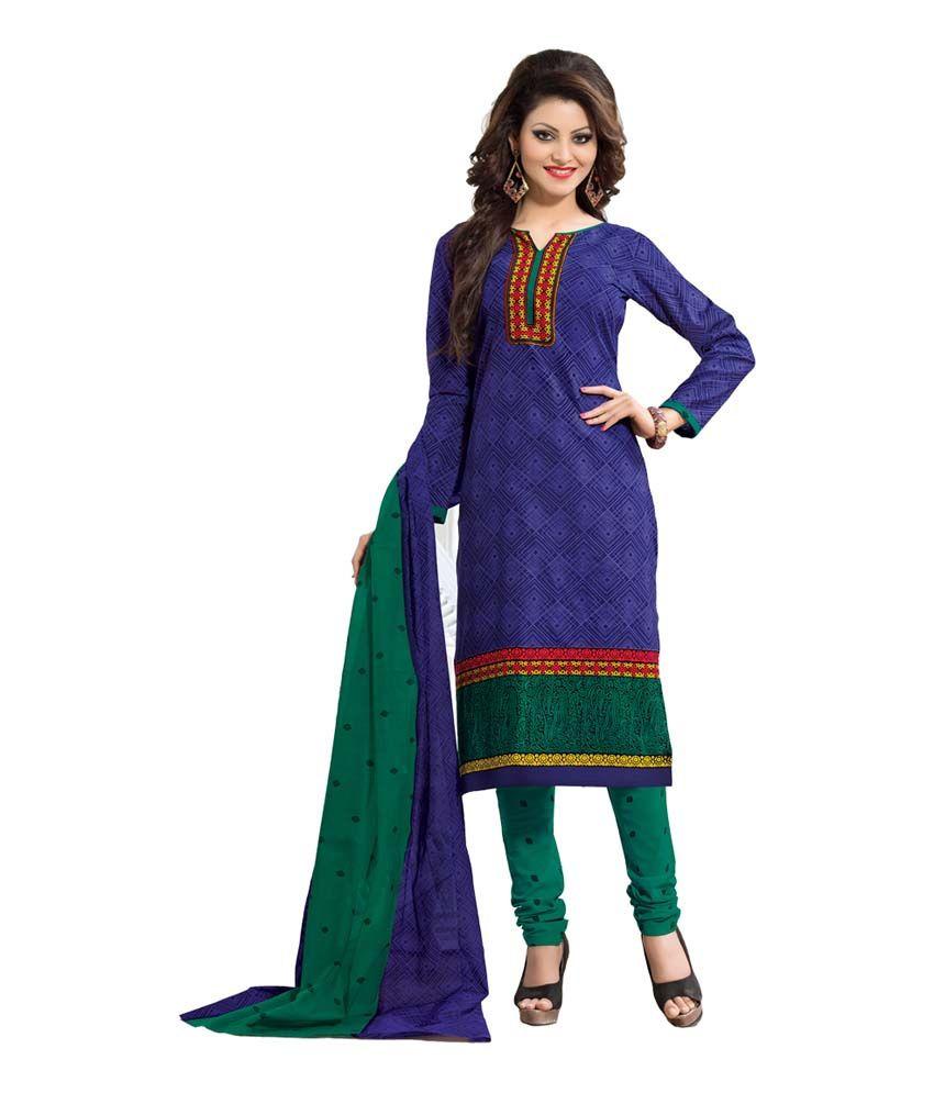 Fabrics Villa Blue Cotton Printed Dress Material