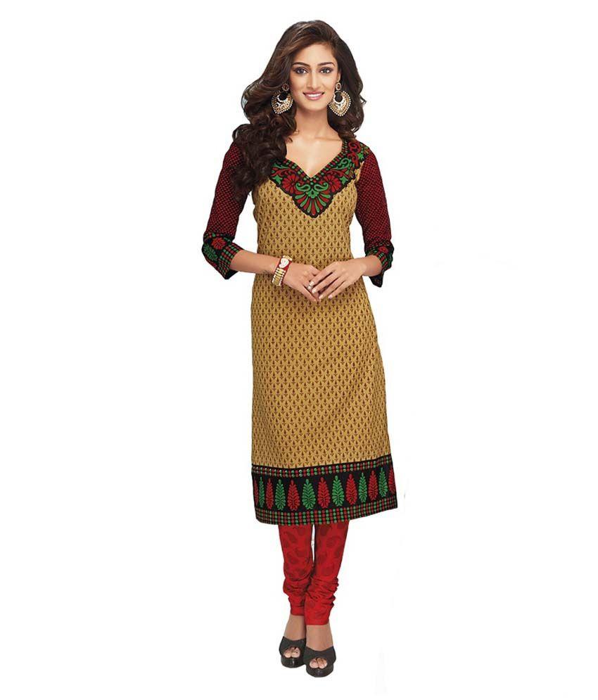 Fabrics Villa Brown Cotton Printed Dress Material