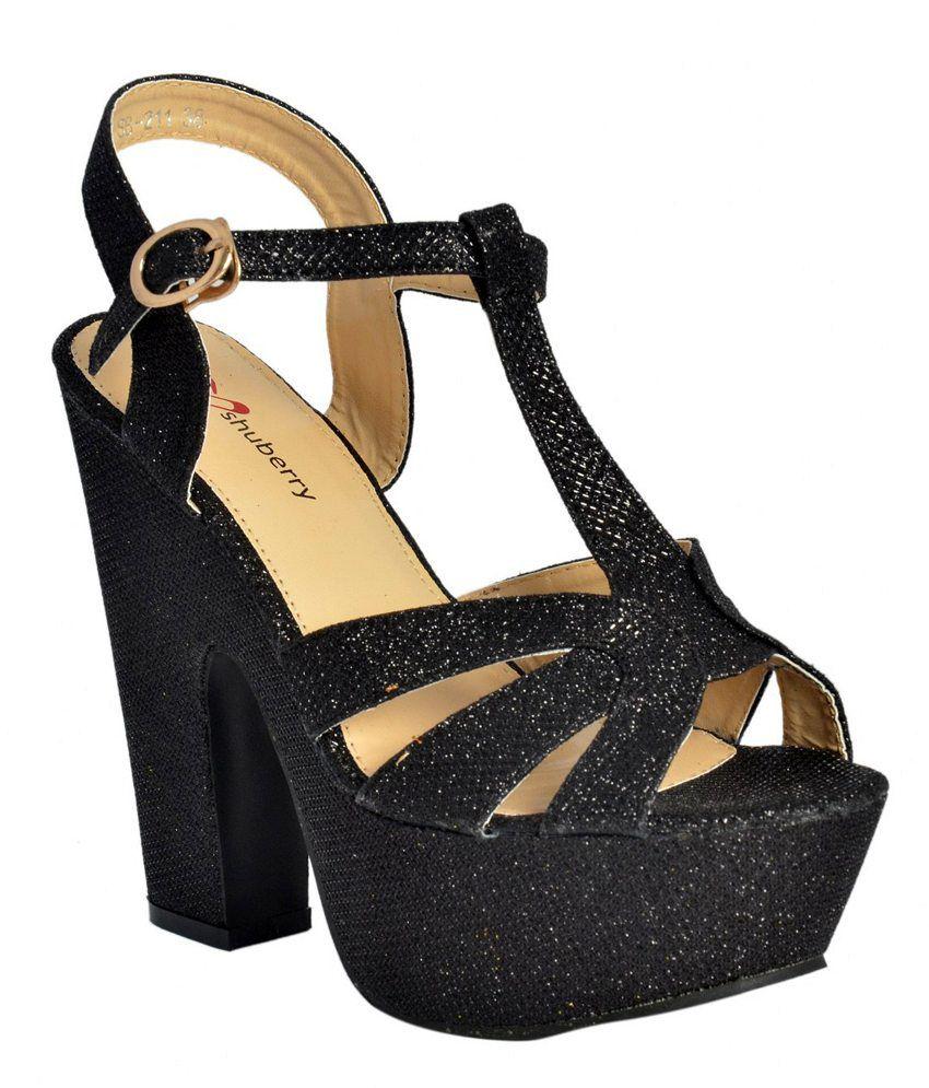 Shuberry Black Block Heel Sandals