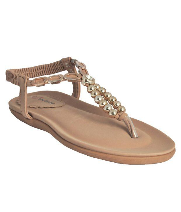 Shuberry Lite Beige Flat Sandals