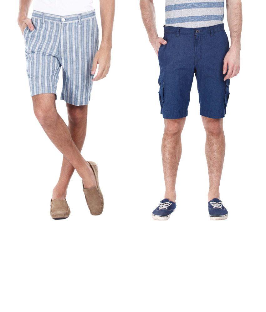Zobello Combo Of 2 Blue And Gray Cotton Shorts