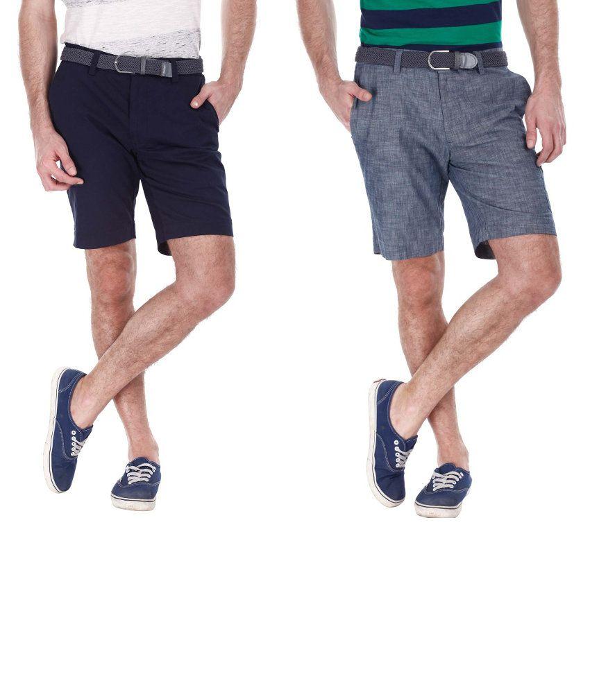 Zobello Combo Of 2 Gray And Blue Cotton Shorts