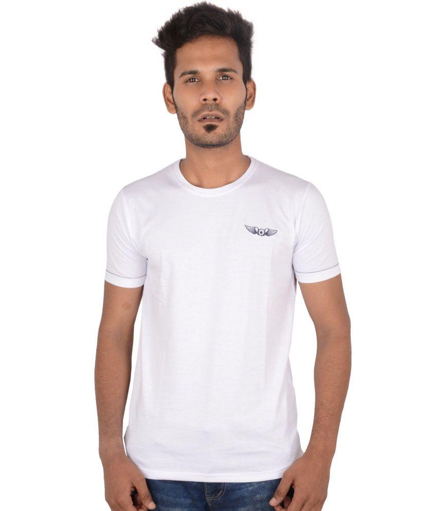 A.u. Galactic White Cotton Round Neck Half Sleeves Men T-shirt