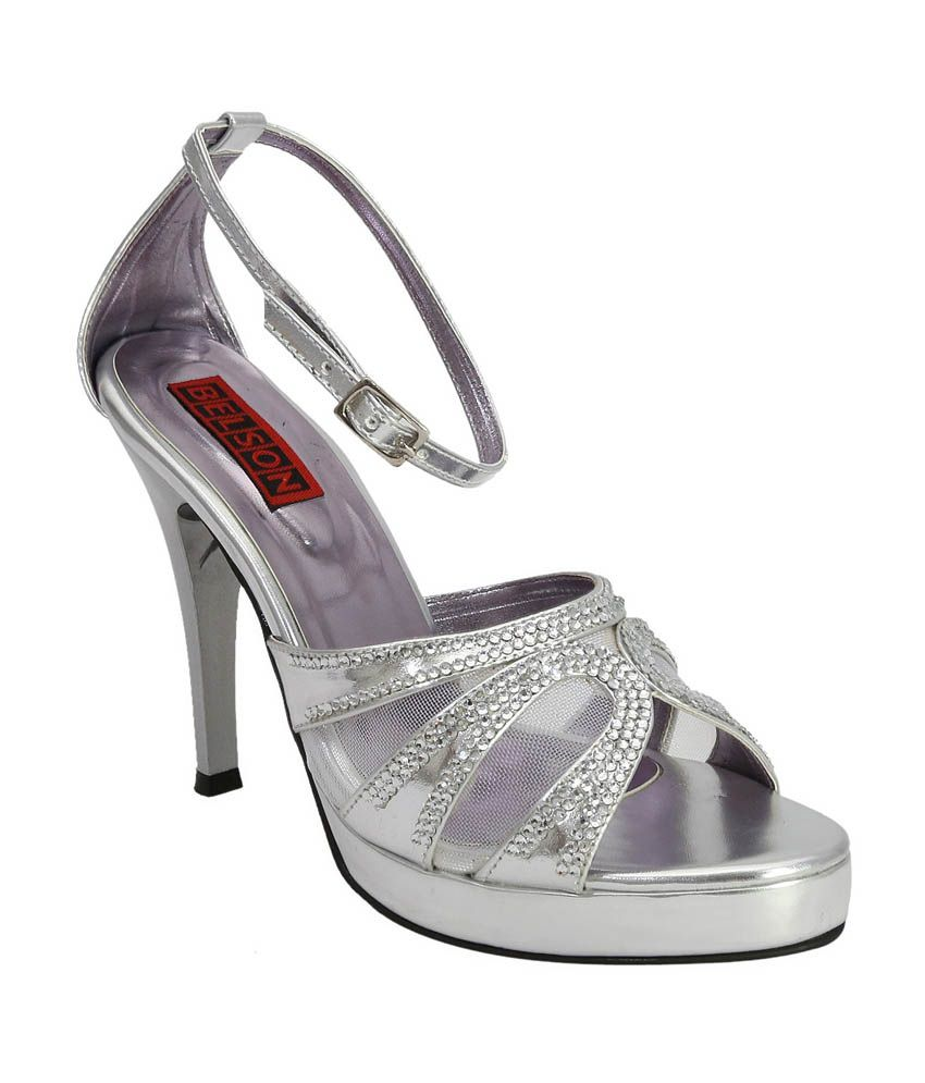 Belson Silver Faux Leather Party Wear High Heeled Sandals