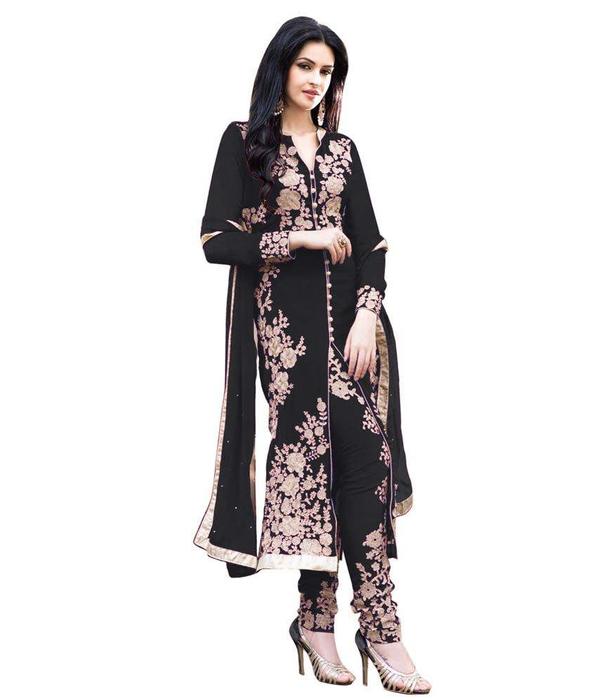 Fashion zone black faux georgette semi stitched