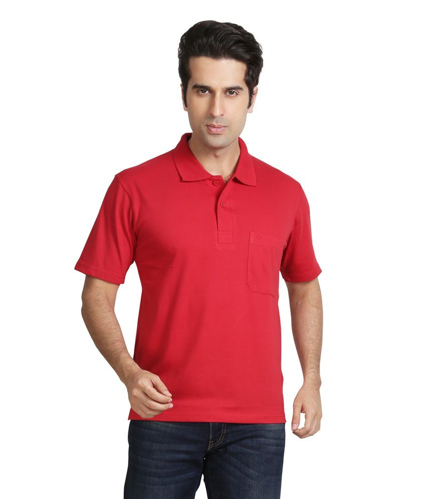 Galaxi Red Cotton T Shirt For Men