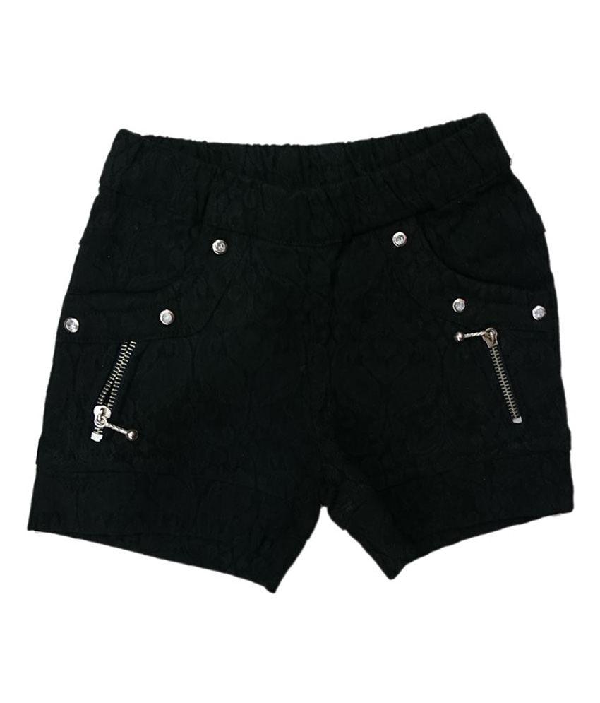 Pink&white Black Elastic Shorts