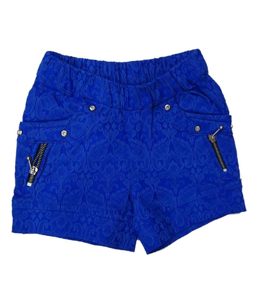 Pink&white Blue Elastic Shorts