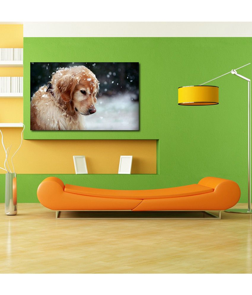 999Store Dog In The Snow Printed Modern Wall Art Painting - Large Size
