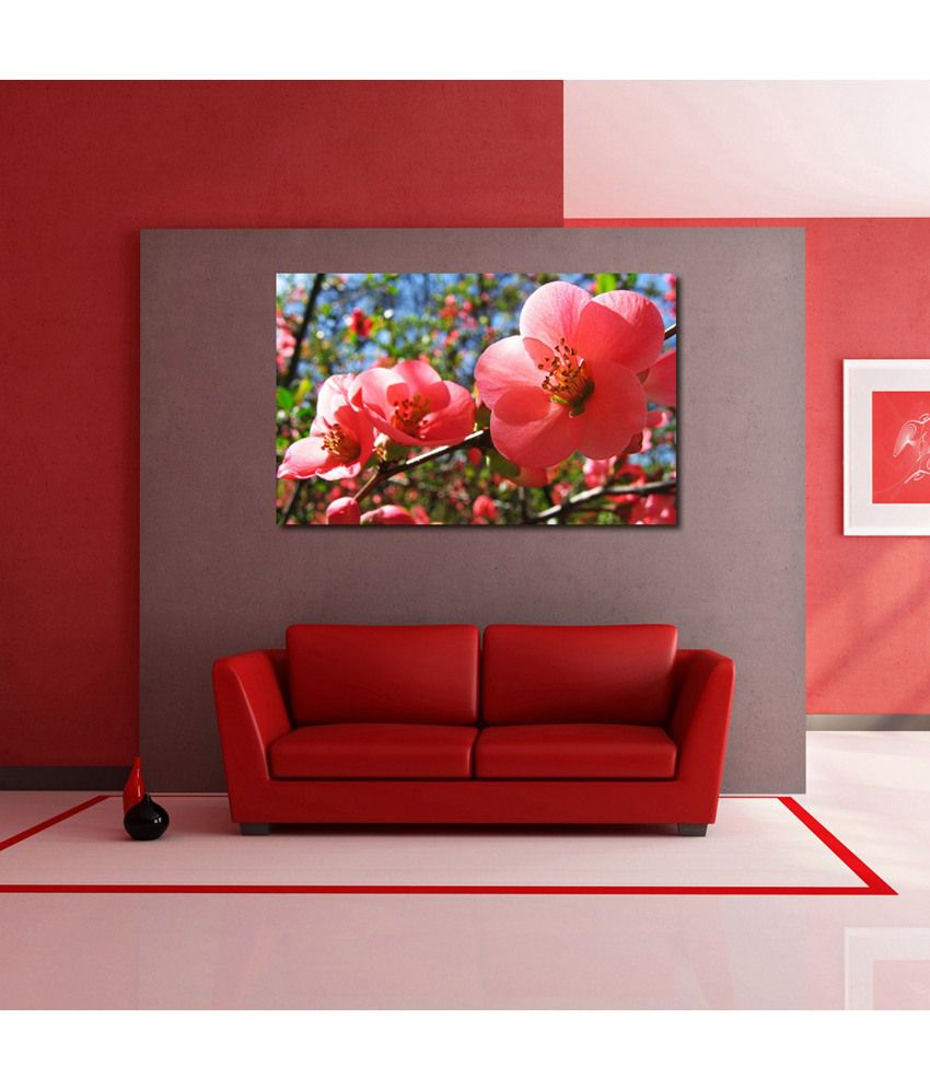 999Store Red Blossom Flowers Printed Modern Wall Art Painting - Large Size
