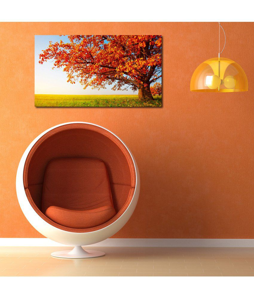 999Store Yellow Tree At Green Field Printed Modern Wall Art Painting - Large Size