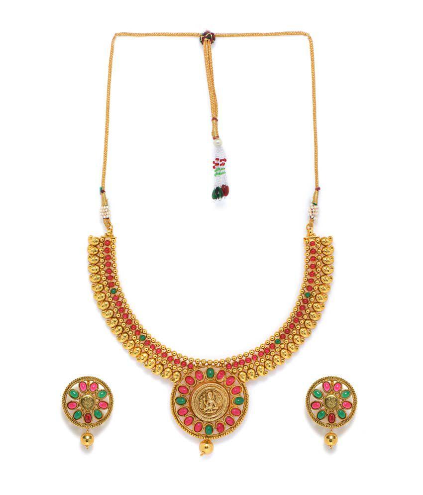 Alankruthi Gold Plated Copper Traditional Wedding & Engagement Necklace Set