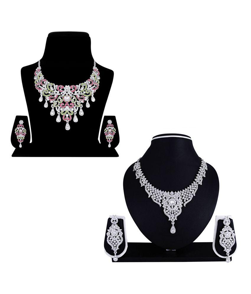 Atasi International Silver Alloy Austrian diamonds Platimium Necklace Set - Combo Of 2