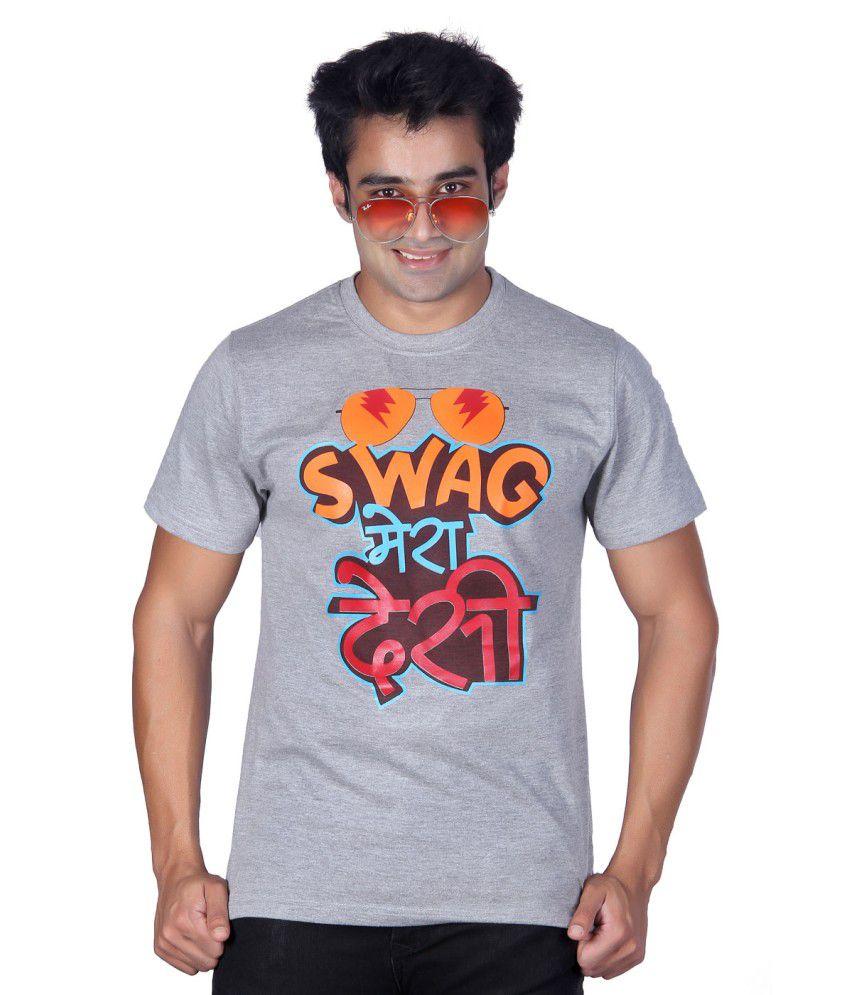 ektarfaa Swag Mera Desi Gray Cotton T Shirt