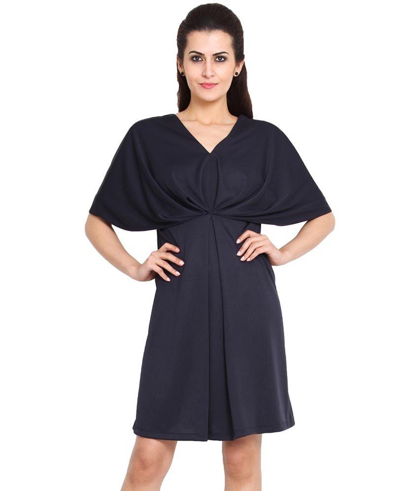 Pera Doce Polyester Medium Casual Blue A Line Dress