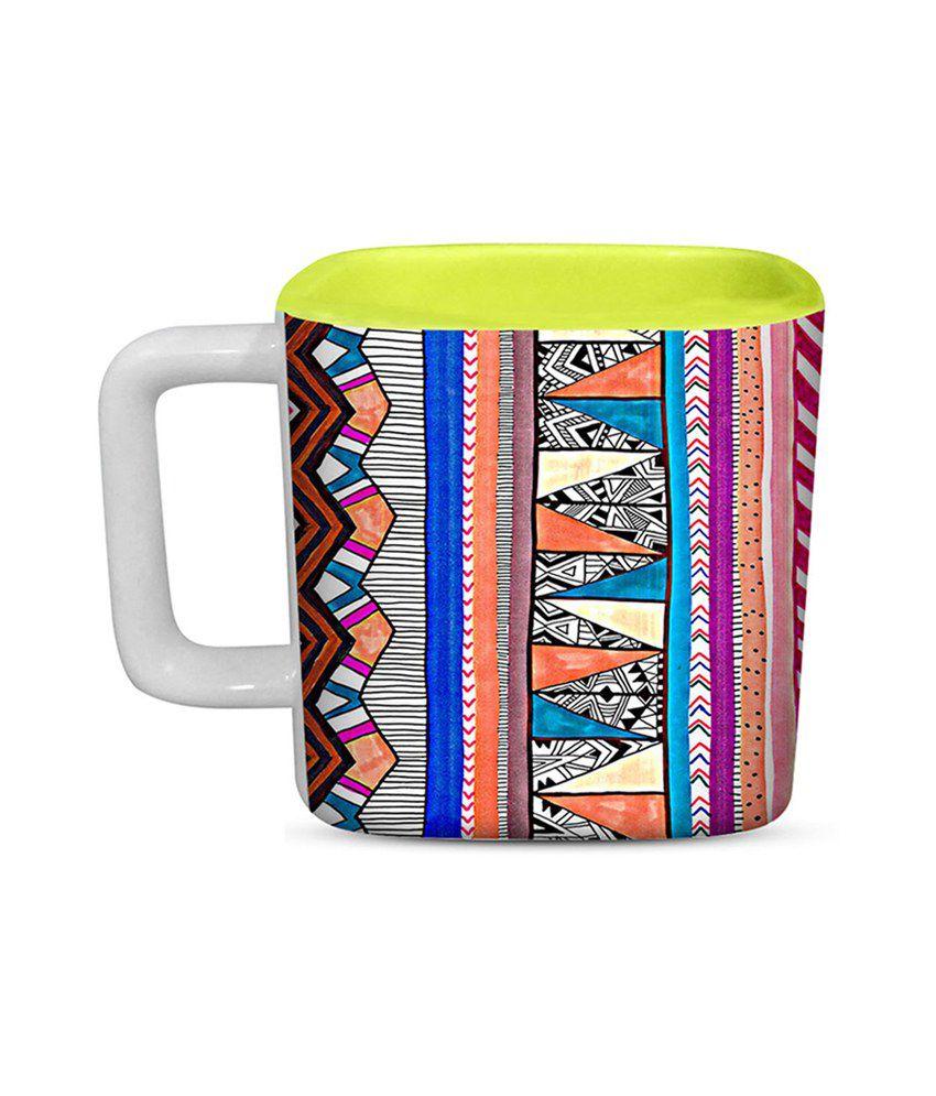 ThinNfat Multicolor Matte Finish Light Green Square Mug