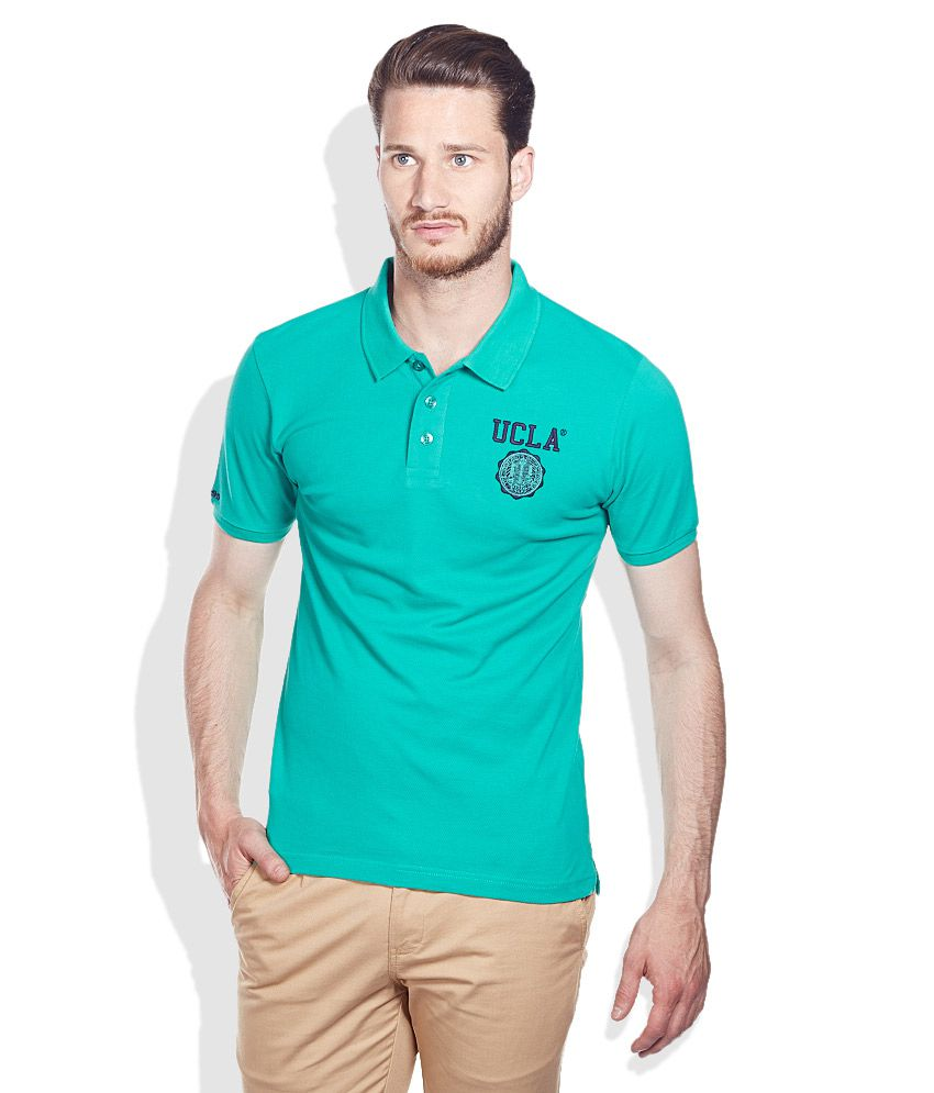 b44ea7a3d UCLA Green Solid Cotton Polo T-Shirt - Buy UCLA Green Solid Cotton Polo T- Shirt Online at Low Price - Snapdeal.com
