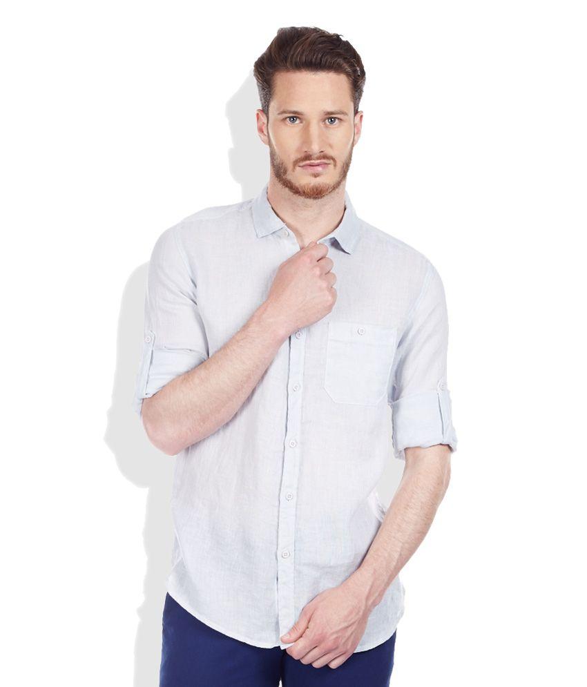 Bossini Blue Regular Fit Casual Linen Shirt