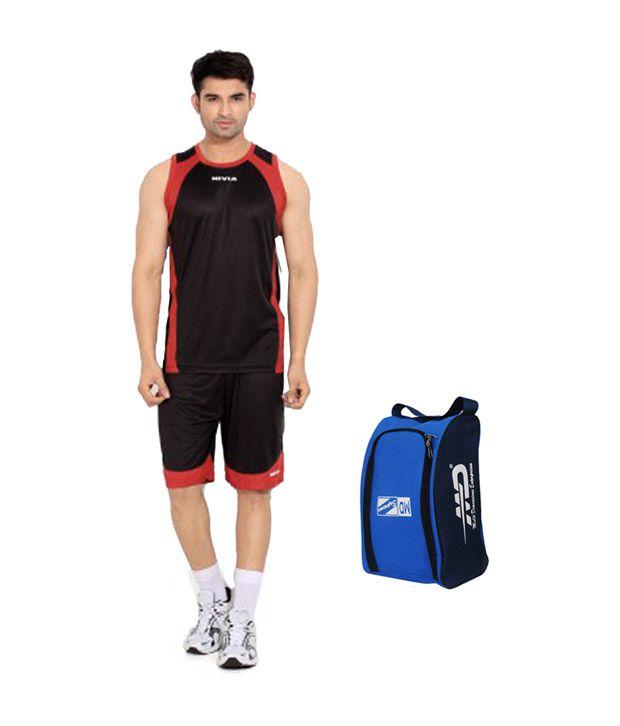 NIVIA & M.D. Black and Red Basket Ball Phantom Kit with Hand Bag