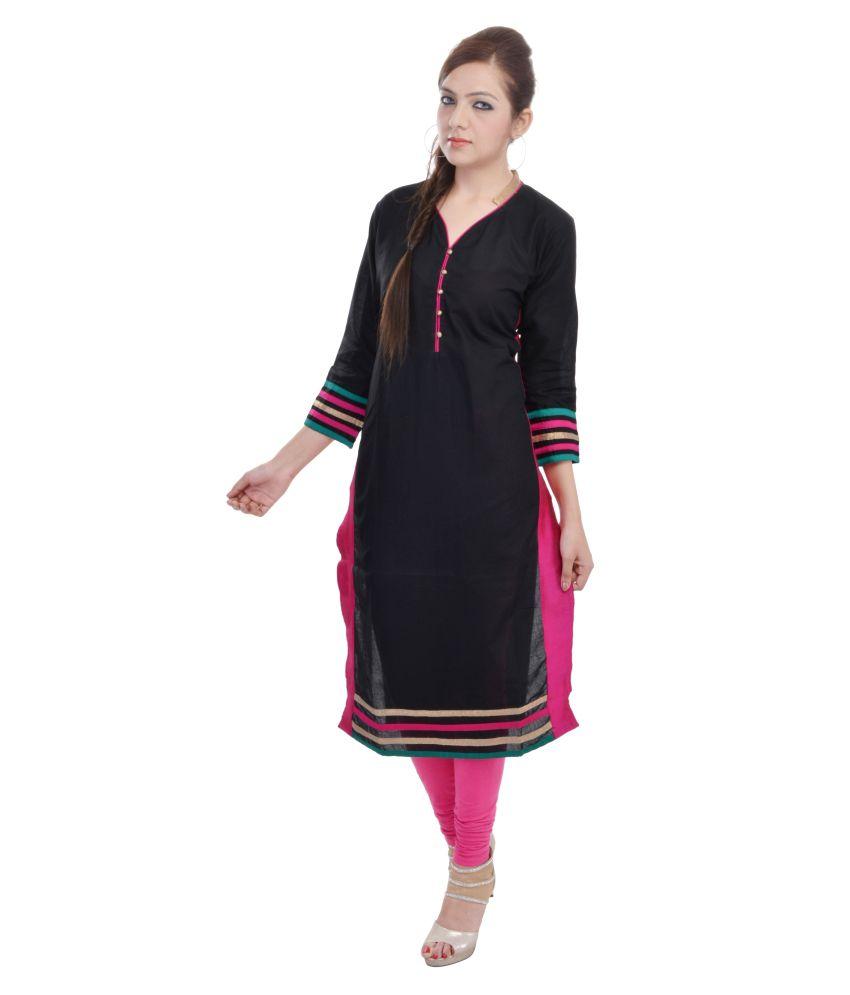 Shop Rajasthan Cotton Black Solid Printed Women Kurti