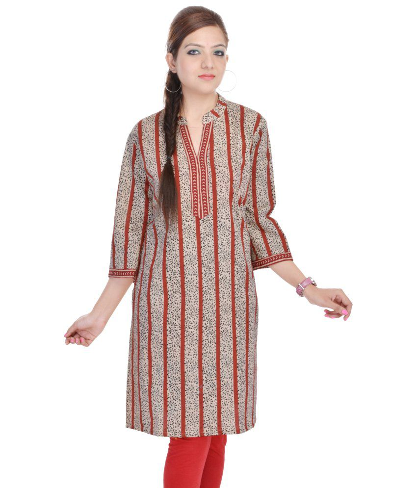 Shop Rajasthan Cotton Red Beige Striped Printed Women Kurti