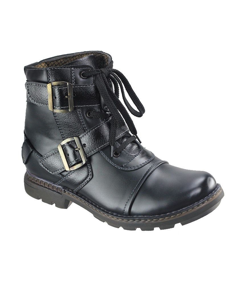 Dziner Black Faux Leather Boots For Men