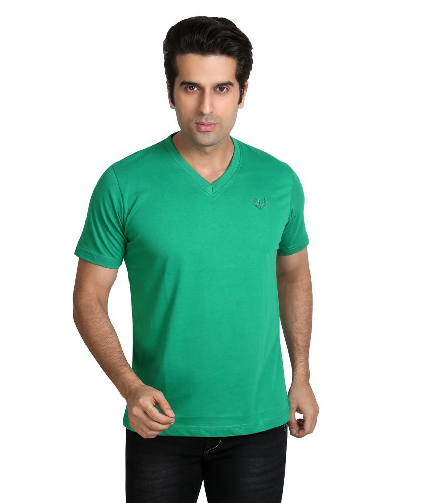 Galaxi Green Half Cotton V Neck T Shirt
