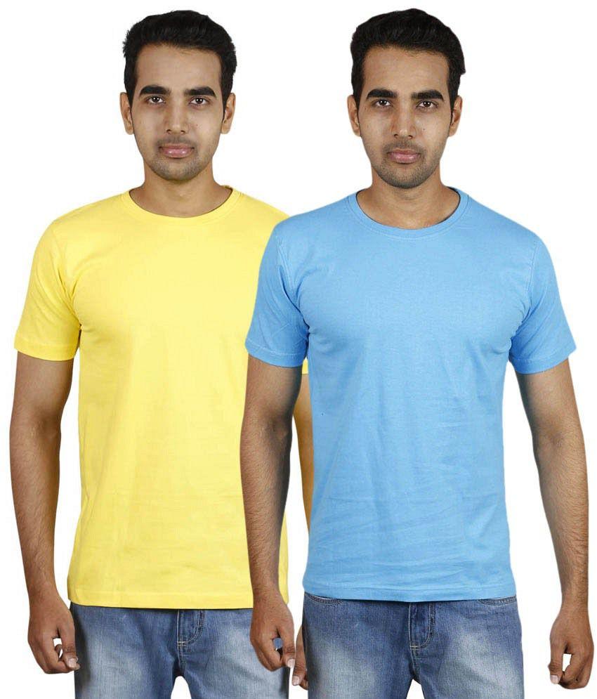 Meedo Combo of Yellow & Blue Round Neck T-Shirts
