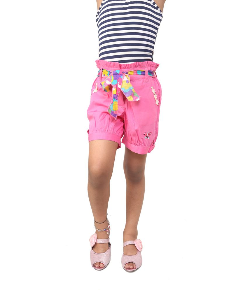 Riya N Zoe Pink Cotton Solids Shorts