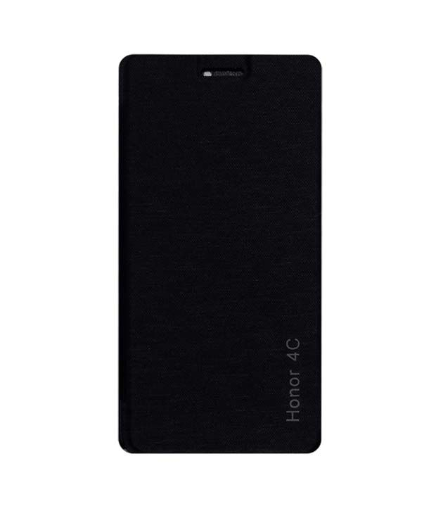 Sma Flip Case For Huawei Honor 4c Mobile Front And Back Flap Folio Cover - Black