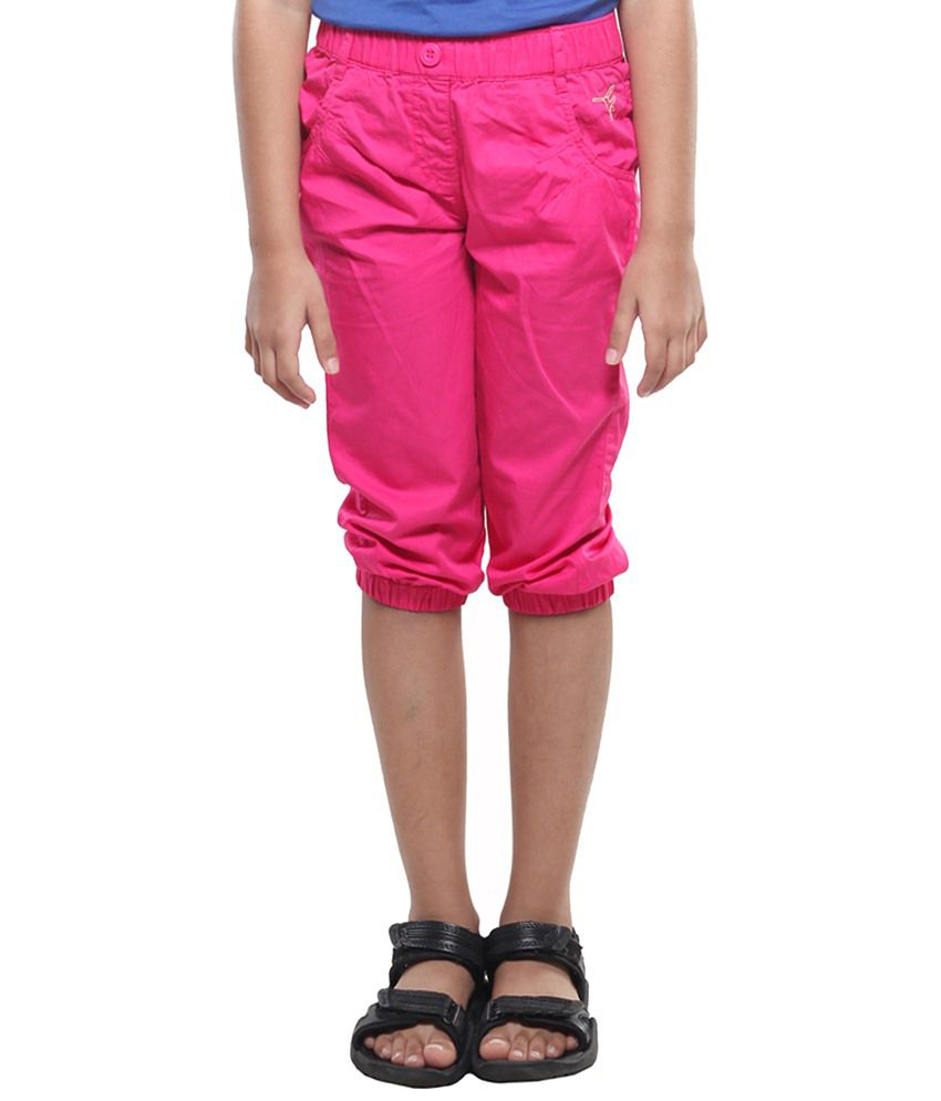 Stop By Shoppers Stop Pink Pin Tuck Capris For Girls
