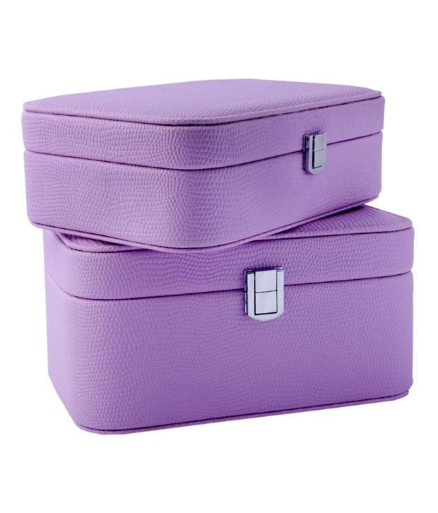 Uberlyfe Combo Of Travel Friendly Compact Jewellery Box And Smart Design Double Level Jewellery Box In Electric Purple