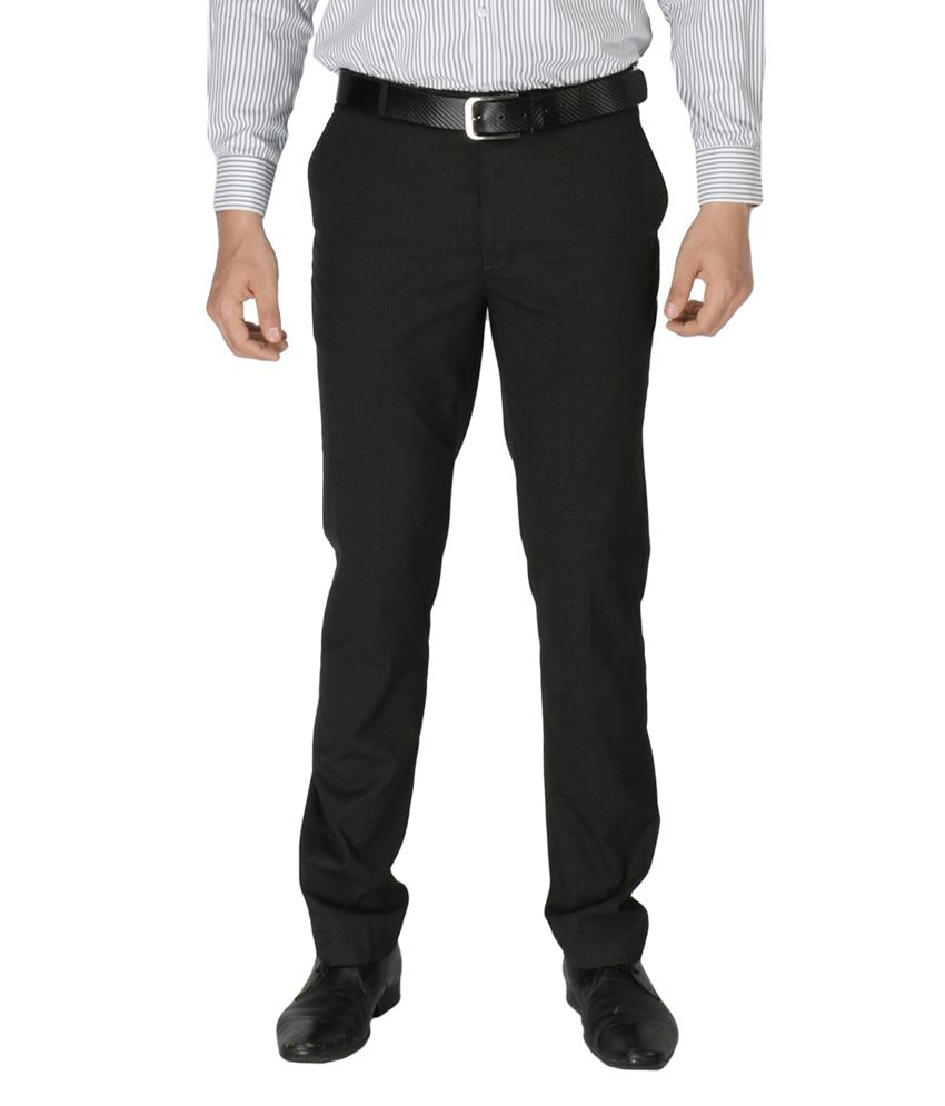 Zido Gray Poly Viscose Formal Trouser