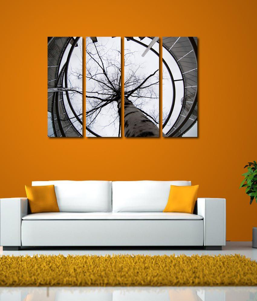 999store Glossy Printed Sunrise At Tree Like Modern Wall Art Painting With Frame - 4 Frames