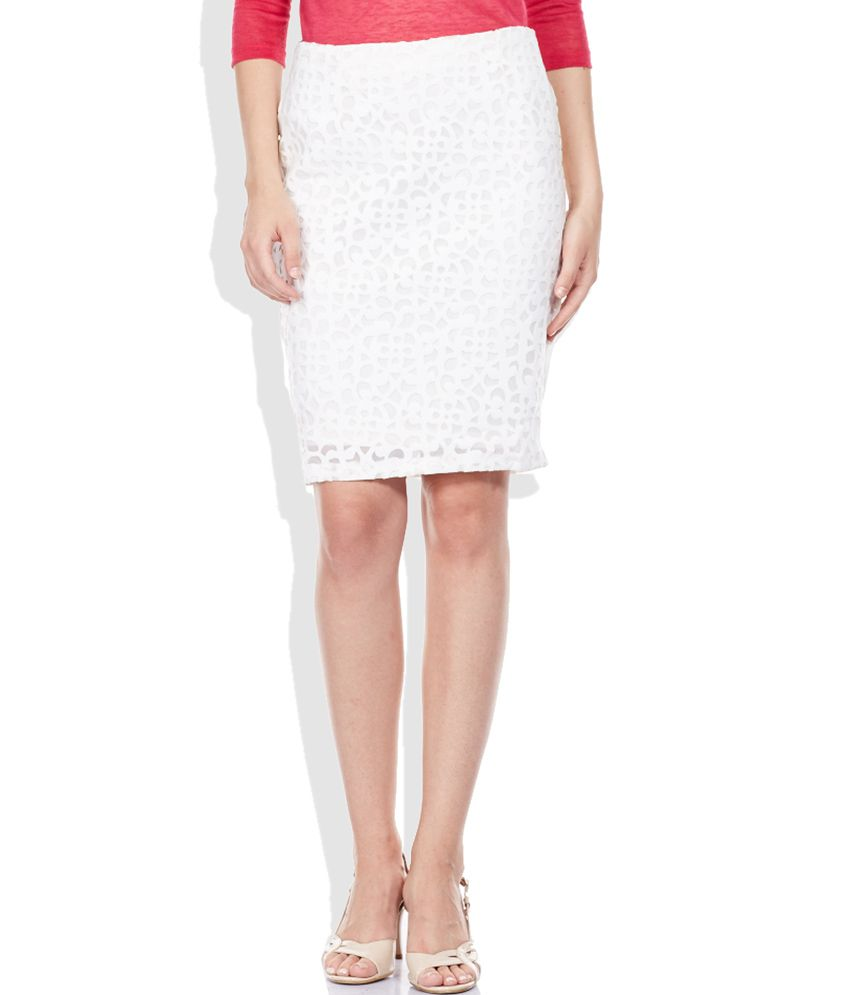 72f9fb4dcea Buy Code White Pencil Short Skirt Online at Best Prices in India - Snapdeal