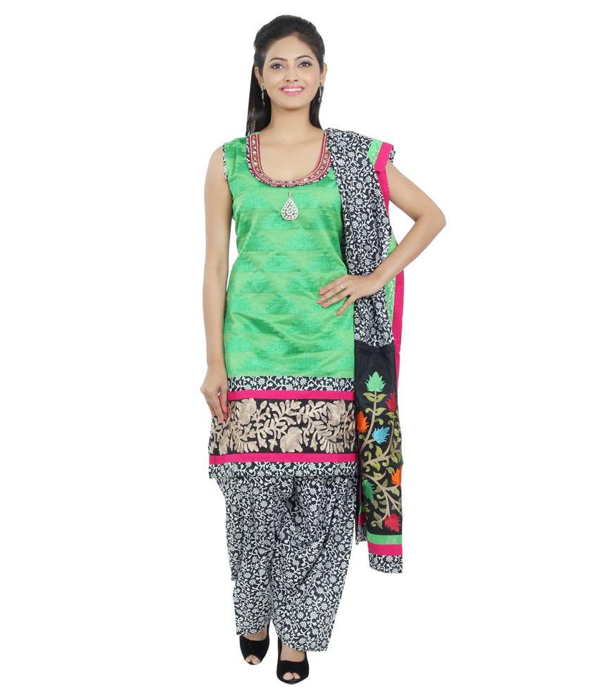 Idha Green Chanderi Straight Fit Bandhej Print Salawar Suit
