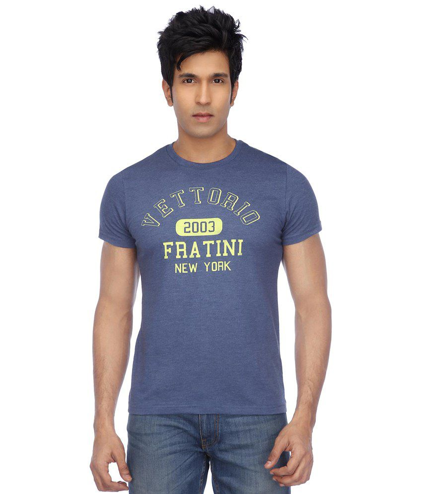 Vettorio Fratini By Shoppers Stop Blue Casual Printed T-shirt
