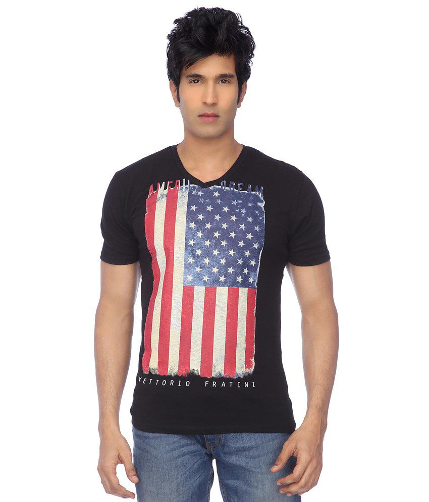 Vettorio Fratini By Shoppers Stop Black & Red Casual T-shirt