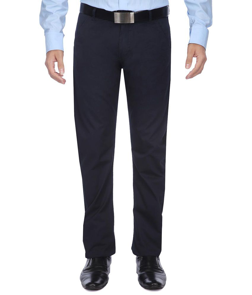 Vettorio Fratini By Shoppers Stop Navy Formal Trousers