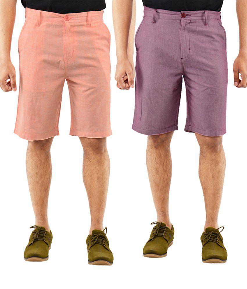 Blue Wave Appealing Pack Of 2 Orange & Purple Shorts